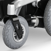 SCAUN CU ROTILE ELECTRIC iChair MC1 6km/h autonom 40km max 120kg motoare 2x180W 5 viteze panta 15grd - Roti frontale cu jante din aluminiu